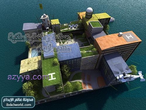 العالم . وهذه الصورة تصور المدينة أثناء زيارتها لجزيرة النخلة
