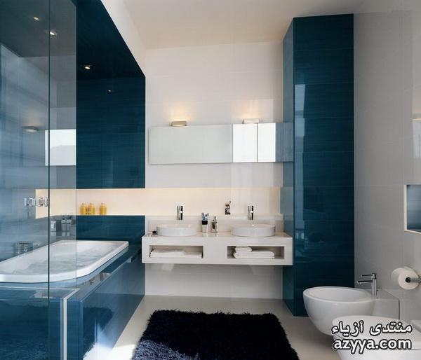 حمامات ومغاسل باللون الازرق