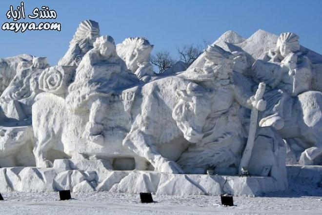 الصور من منحوتات ورقيةمنحوتات خشبيةمنحوتات جليدية ضخمة في مهرجان بالصينإبداع